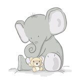 Baby elephant plays with bear cub