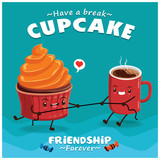 Vintage Cupcake poster design with vector cupcake & coffee character.