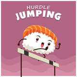 Vintage sport poster design with vector sushi hurdle jumping character.