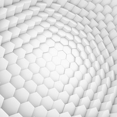 White abstract hexagons backdrop. 3d rendering geometric polygons