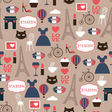 color french seamless vector pattern - 123081828