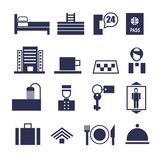 set of geometric vector icons for hotel service - 123081898