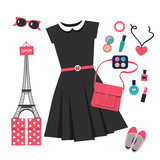 set of vector icons for shopping in Paris with black dress - 123082003