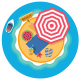 top view of  tropical island with umbrella - 123082013