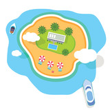 vector tropical island top view - 123082060