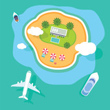 vector tropical island top view with plane - 123082283