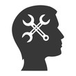 human head profile with repairs tools icon inside. vector illustration