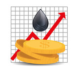 black drop with money coins and financial red arrow. oil and petroleum price design. vector illustration