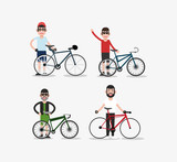 bike and cyclist icons image vector illustration