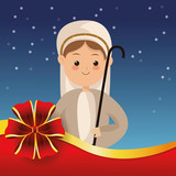 joseph with biblical christmas related icons image vector illustration design