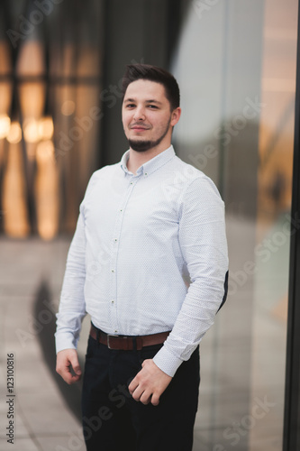 Luxury happy man posing on camera. Nice portrait