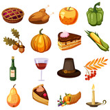 Thanksgiving Day icons set. Cartoon illustration of 16 Thanksgiving Day vector icons for web