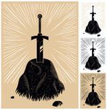 Excalibur / Illustration of King Arthur's Excalibur linocut style. 4 color versions.