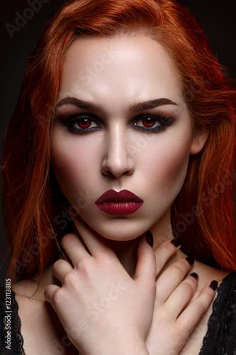 Beautiful vampire young woman Poster