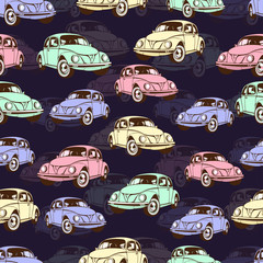 Vintage car seamless pattern, retro cartoon background. Multicolored cars on the beige . For the design of wallpaper, wrapper, fabric. Vector illustration