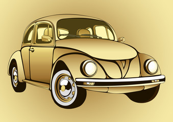 Golden vintage car. Gold retro cartoon machine on a  background. Vector isolated illustration