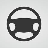 Steering wheel icon. Vector illustration.