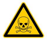 Fototapety wso256 WarnSchildOrange - english warning sign: human skull and crossbones - German Warnschild: Menschlicher Schädel und Knochen - XXL g4735
