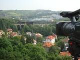 Praha Prag Prague Hlubocepy Barrandov film camera Sony train locomotive viaduct bridge
