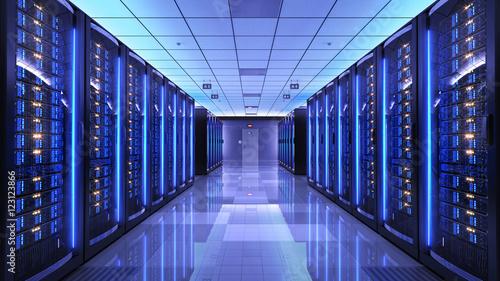 Leinwanddruck Bild Server racks in server room data center