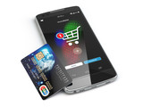 Mobile online shopping. E-commerce with smart phone and credit c