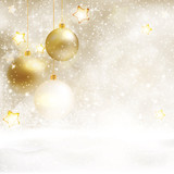 White golden Christmas background with baubles