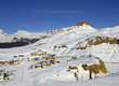 Mountain resort Passo Rolle (Pass Rolle). The Pala group, Mountain range in the Dolomites, Italy. UNESCO World Heritage Site