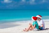 Kids at beach on Christmas