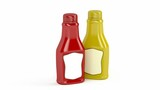 Ketchup and mustard bottles with blank labels on white background