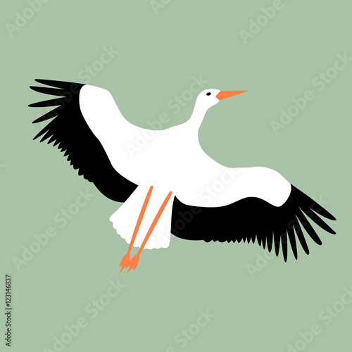 Fotobehang Stork fly vector illustration style Flat