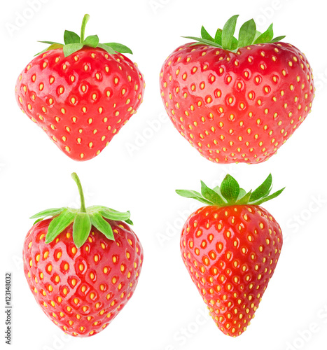 Collection of isolated strawberries