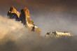 Sass Maor mountain in clouds, mountain group Pale di San Martino, Dolomite mountains - Italy, Europe, UNESCO World Heritage Site