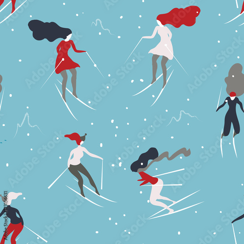 Materiał do szycia Winter seamless pattern with skiers. Cartoon girls skiing. Background great for wrapping paper and wallpapers.