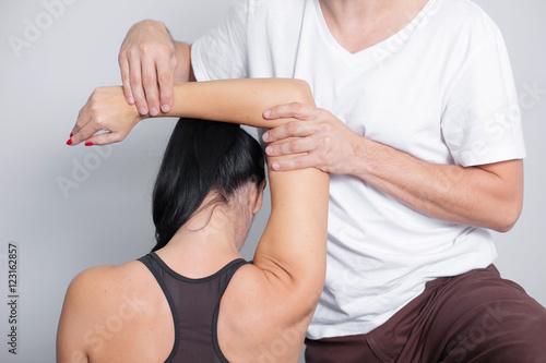 Professional arm massage in studio.