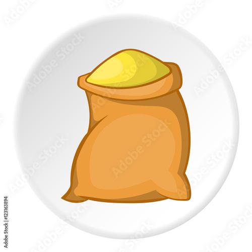 Sack of flour icon. Cartoon illustration of sack of flour vector icon for web