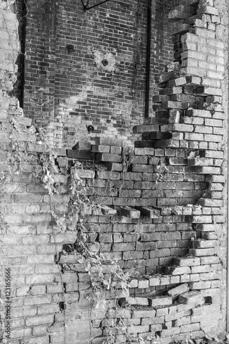 Fotobehang Oude verlaten gebouwen Crumbling Brick Wall of the former Power Plant at the Central Indiana Hospital for the Insane, built in 1886 and abandoned in the 1970s V