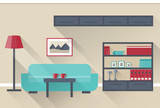 Interior of colorful living room in flat design with long shadows. Vector illustration.
