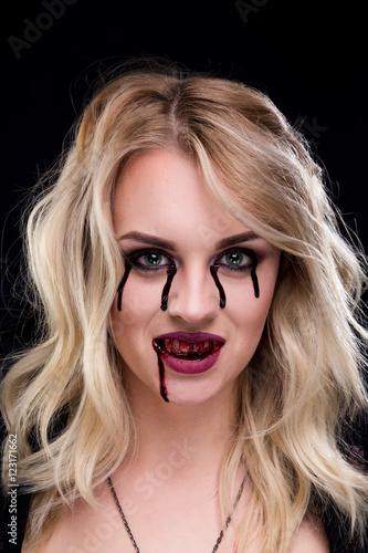 Beautiful blonde girl vampire Poster