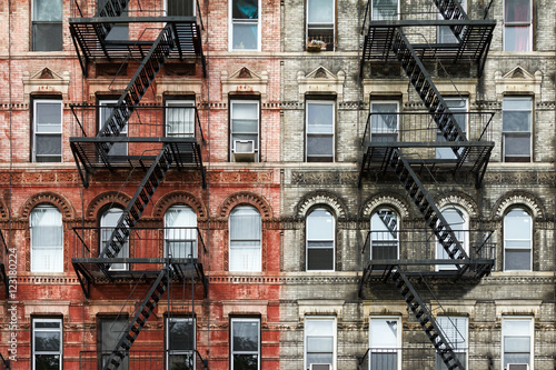 obraz PCV Old Brick Apartment Buildings in Manhattan, New York City