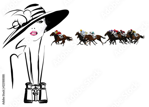 Woman in a horse racecourse