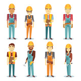 Builder contractor man and female worker vector people character set