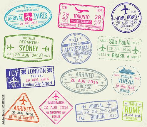International travel visa passport stamps vector set