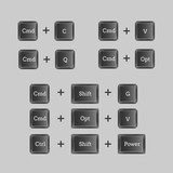 Computer keyboard shortcuts with vector buttons