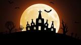 Footage Happy Halloween Black Castle, moon, bats, pumpkin
