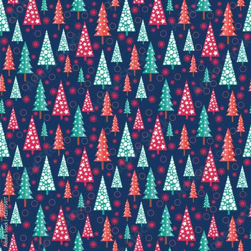 Cotton fabric seamless Christmas pattern -  Xmas trees and snowflakes