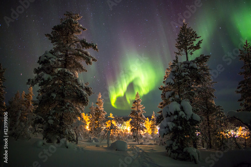 fototapeta na ścianę Northern Lights in Lapland, Finland.
