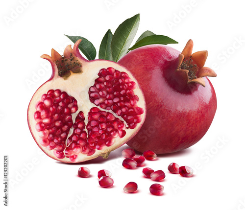 Foto Murales Pomegranate whole and half cut leaves isolated on white