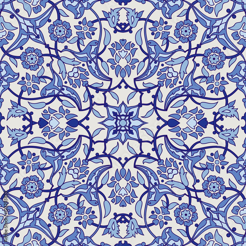 Stylized Flowers Oriental Wallpaper Retro Seamless Abstract Background Vector Decoration Tile Print Tribal Fl