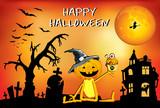 Happy Halloween pumpkin with Cake, funny posters, children
