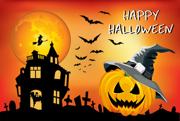 Happy Halloween pumpkin in the hat, a big moon, srashno poster, children's illustration, card, poster on an orange background.